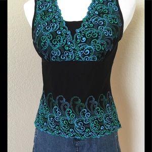 Tank top Lace mesh embellished new top Karen Kane